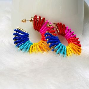 Wrapped in a Rainbow 🌈 Beaded Hoop Earrings